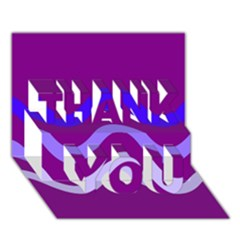 Purple Waves THANK YOU 3D Greeting Card (7x5)