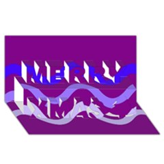 Purple Waves Merry Xmas 3D Greeting Card (8x4)