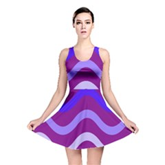Purple Waves Reversible Skater Dress