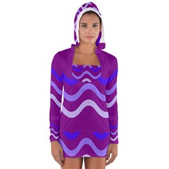 Purple Waves Women s Long Sleeve Hooded T-shirt