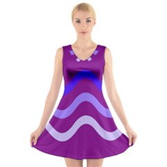 Purple Waves V-Neck Sleeveless Skater Dress