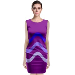 Purple Waves Classic Sleeveless Midi Dress