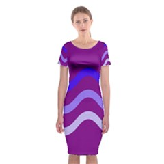 Purple Waves Classic Short Sleeve Midi Dress