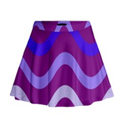 Purple Waves Mini Flare Skirt
