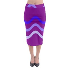 Purple Waves Midi Pencil Skirt