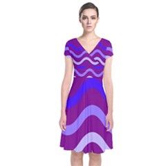 Purple Waves Short Sleeve Front Wrap Dress