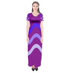 Purple Waves Short Sleeve Maxi Dress