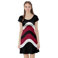 Decorative waves Short Sleeve Skater Dress