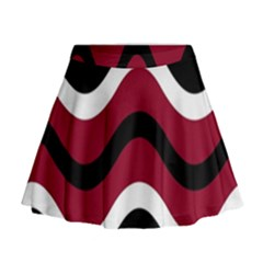 Decorative Waves Mini Flare Skirt