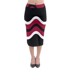 Decorative Waves Midi Pencil Skirt