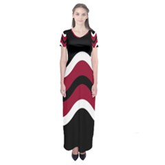 Decorative Waves Short Sleeve Maxi Dress