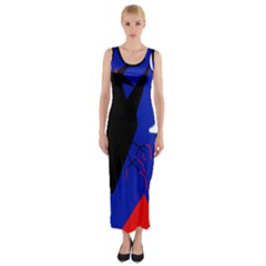 Night birds  Fitted Maxi Dress