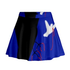 Night Birds  Mini Flare Skirt