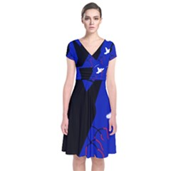 Night Birds  Short Sleeve Front Wrap Dress
