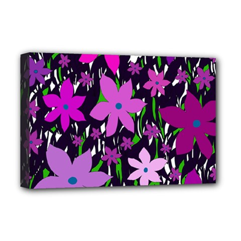 Purple Fowers Deluxe Canvas 18  x 12