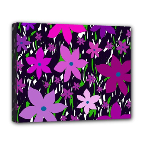 Purple Fowers Deluxe Canvas 20  x 16