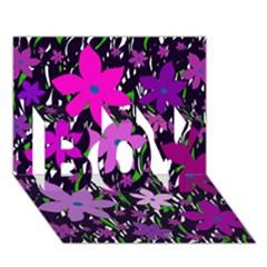 Purple Fowers BOY 3D Greeting Card (7x5)