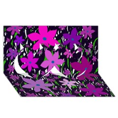 Purple Fowers Twin Hearts 3D Greeting Card (8x4)