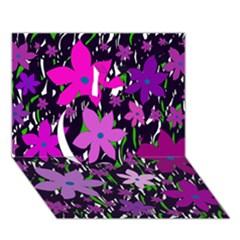 Purple Fowers Apple 3d Greeting Card (7x5)