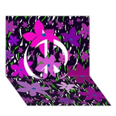 Purple Fowers Peace Sign 3D Greeting Card (7x5)
