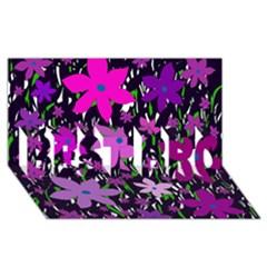 Purple Fowers BEST BRO 3D Greeting Card (8x4)