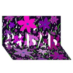 Purple Fowers #1 DAD 3D Greeting Card (8x4)