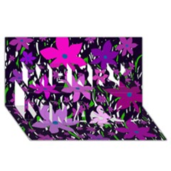 Purple Fowers Merry Xmas 3D Greeting Card (8x4)