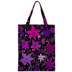 Purple Fowers Zipper Classic Tote Bag