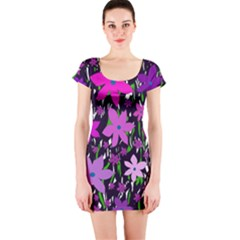 Purple Fowers Short Sleeve Bodycon Dress