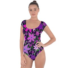 Purple Fowers Short Sleeve Leotard