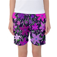 Purple Fowers Women s Basketball Shorts