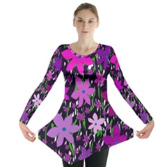 Purple Fowers Long Sleeve Tunic