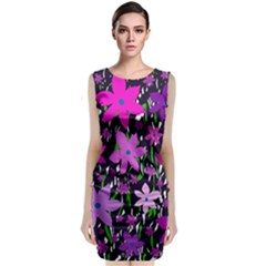 Purple Fowers Classic Sleeveless Midi Dress