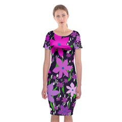 Purple Fowers Classic Short Sleeve Midi Dress