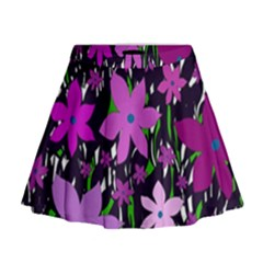 Purple Fowers Mini Flare Skirt