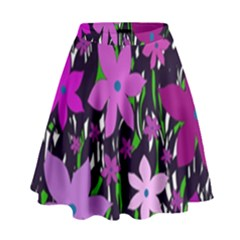 Purple Fowers High Waist Skirt