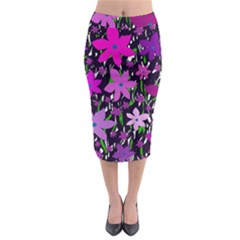 Purple Fowers Midi Pencil Skirt