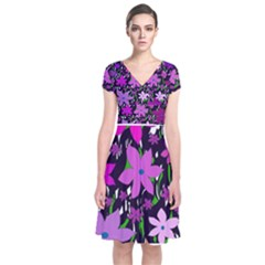 Purple Fowers Short Sleeve Front Wrap Dress