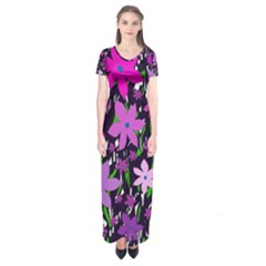 Purple Fowers Short Sleeve Maxi Dress
