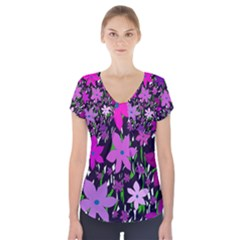 Purple Fowers Short Sleeve Front Detail Top