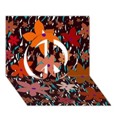 Orange flowers  Peace Sign 3D Greeting Card (7x5)