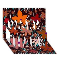 Orange flowers  WORK HARD 3D Greeting Card (7x5)