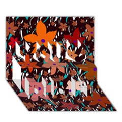 Orange flowers  You Did It 3D Greeting Card (7x5)