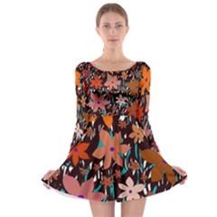 Orange flowers  Long Sleeve Skater Dress