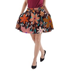 Orange flowers  A-Line Pocket Skirt