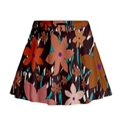 Orange Flowers  Mini Flare Skirt
