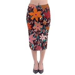 Orange Flowers  Midi Pencil Skirt
