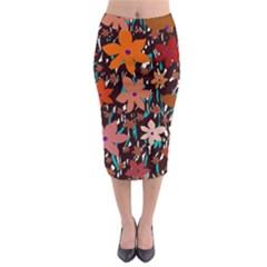 Orange Flowers  Midi Pencil Skirt