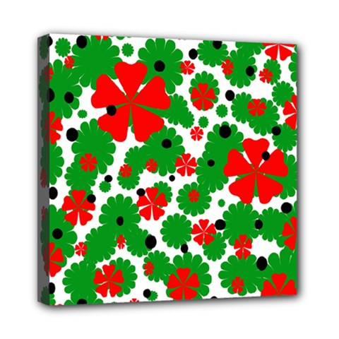 Red and green Christmas design  Mini Canvas 8  x 8