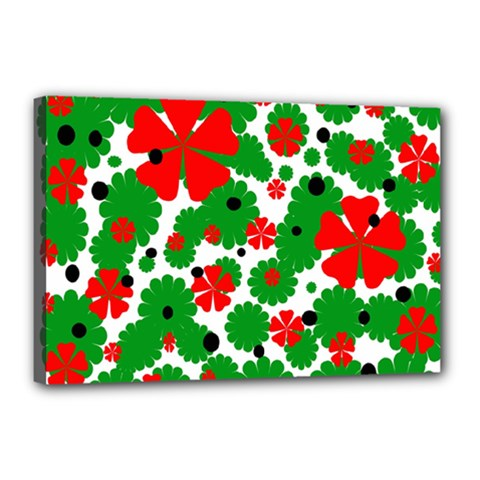 Red and green Christmas design  Canvas 18  x 12